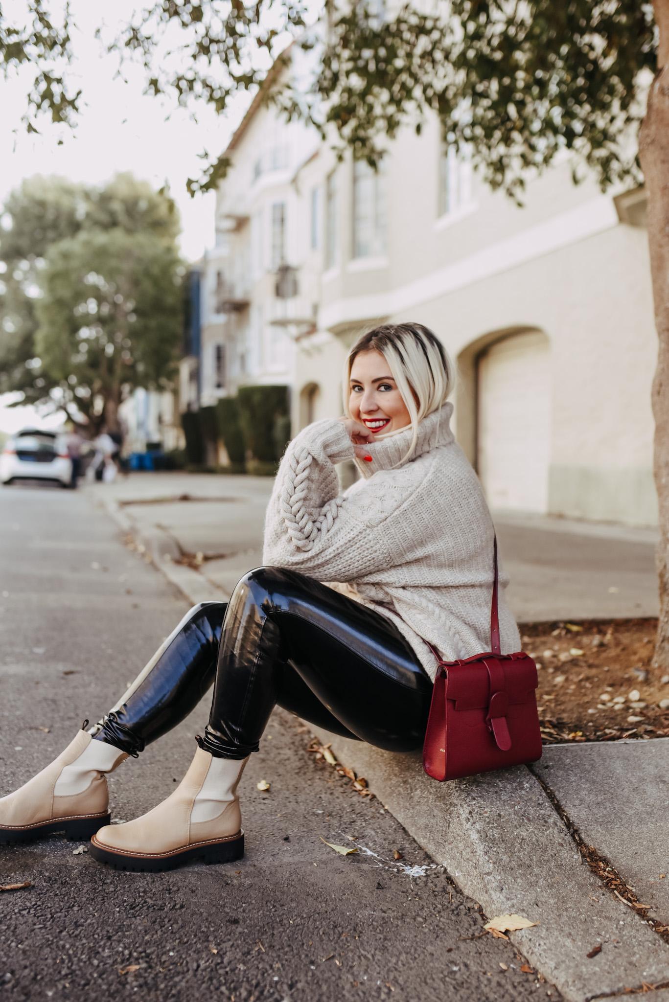 Sam Edelman Laguna Chelsea Boots, Spanx Plastic Pants, Senreve Review, Senreve Discount Code, Senreve Alunna Bag Review, KatWalkSF, Kat Ensign, San Francisco Blogger, Senreve Review