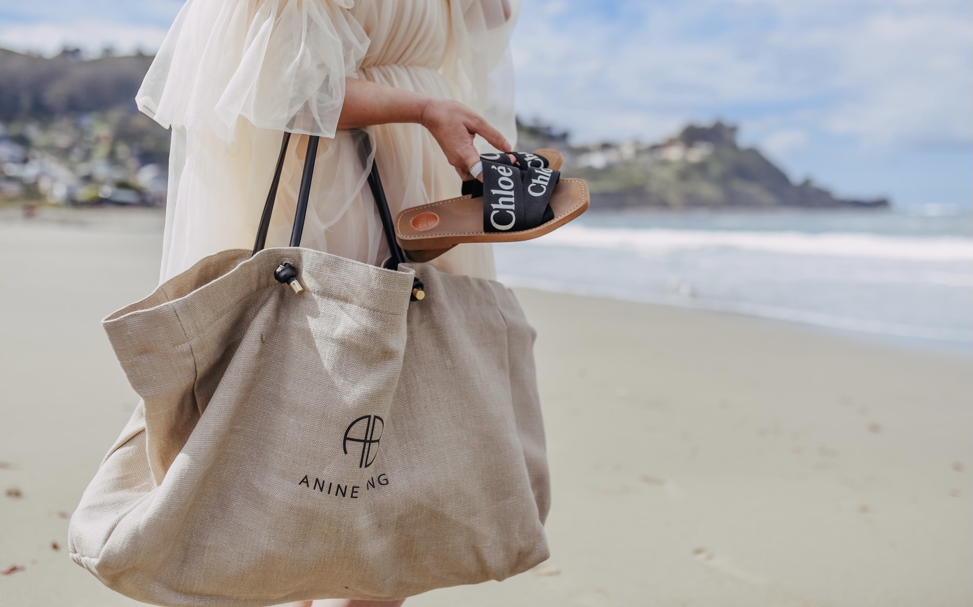 Anine Bing Large Saffron Tote, KatWalkSF holding the Chloé Woody Sandals in Pacifica