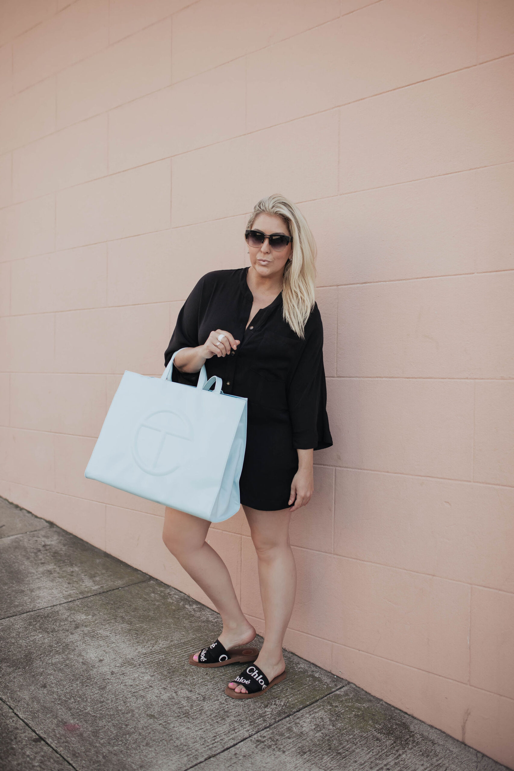 Large Pool Blue Shopping Bag , Show Me Your Mumu Horton Romper, Telfar Bag, Kat Ensign, Horton Romper, KatWalkSF