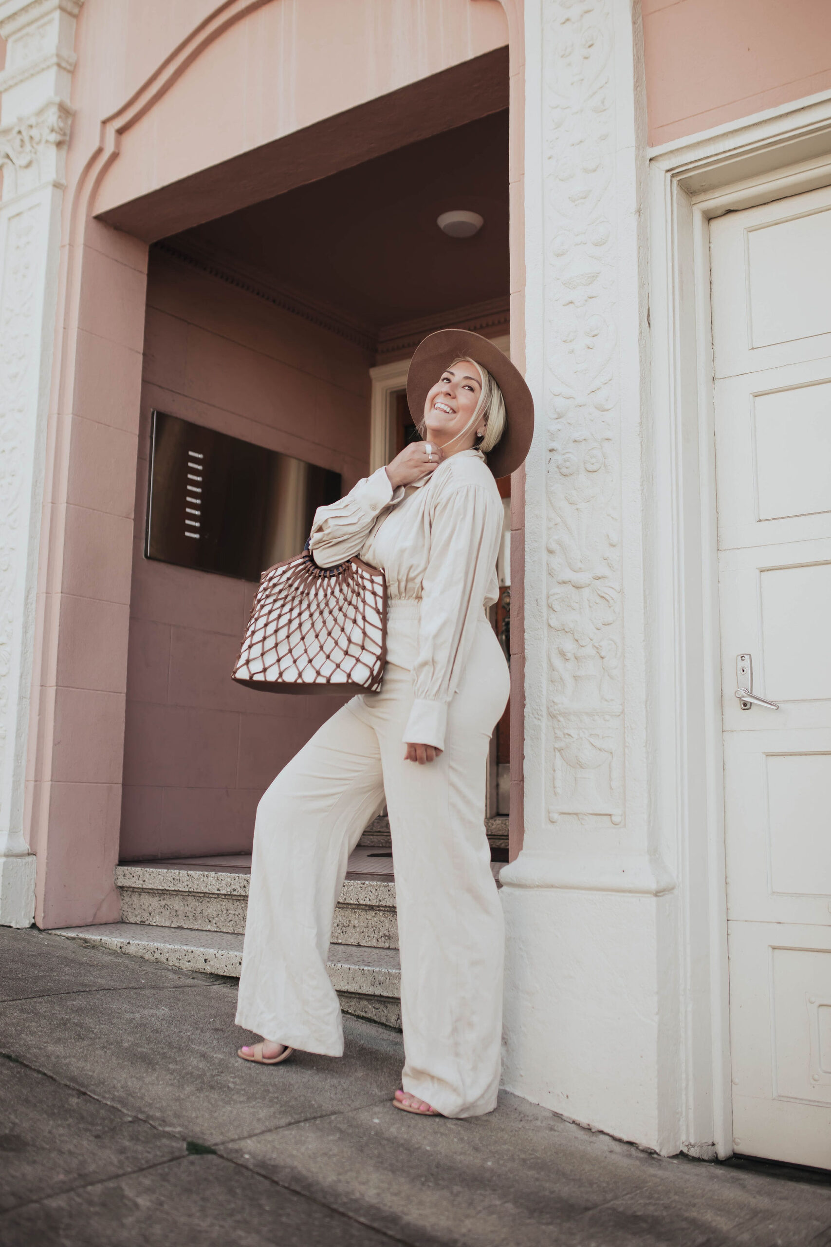 Neutral Jumpsuit Styling, Fashion Blogger katwalksf styles the L'Academie The Rayne Jumpsuit in San Francisco