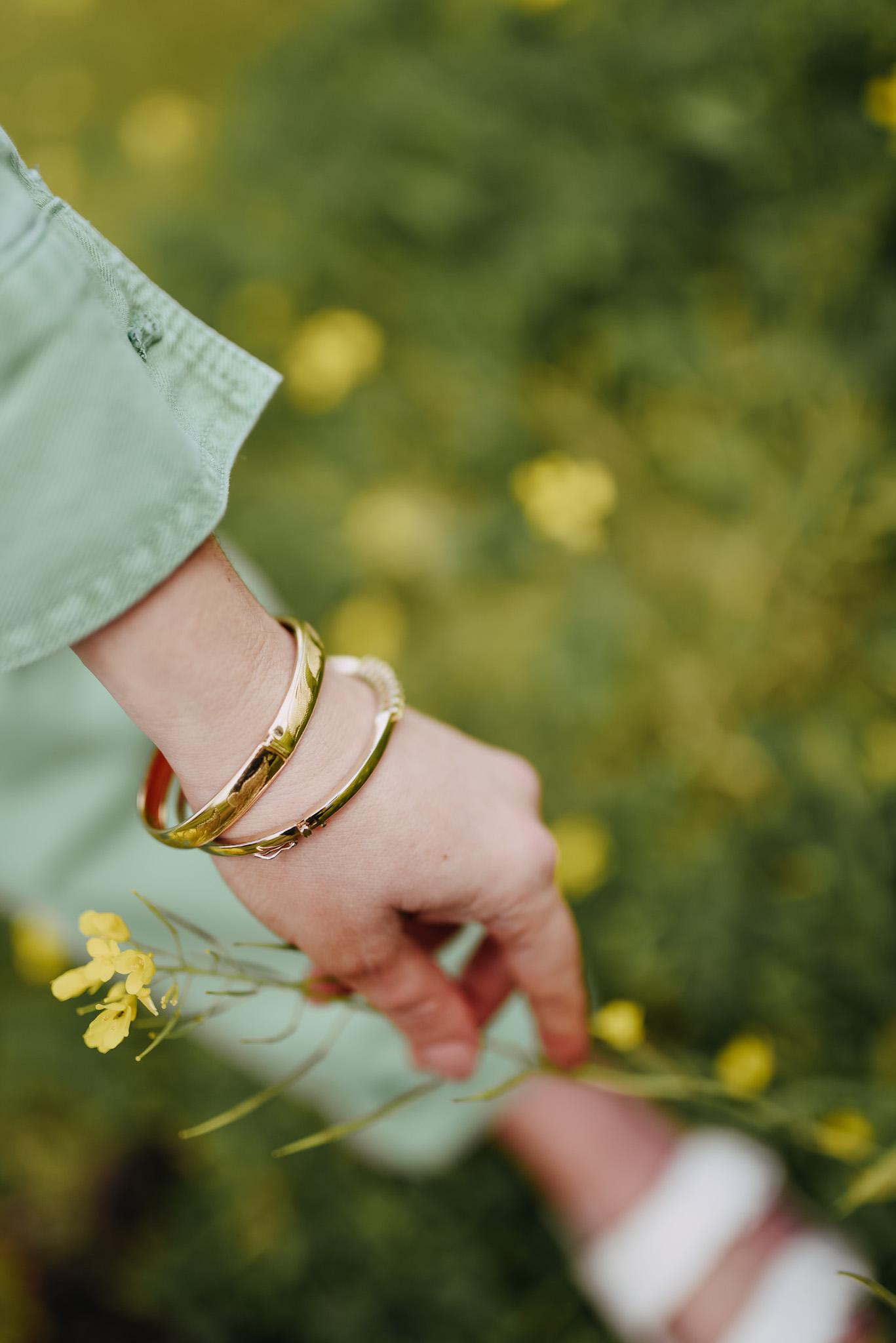 KatWalkSF Kat Ensign wearing a gold bracelet at the Half Moon Bay Superbloom.