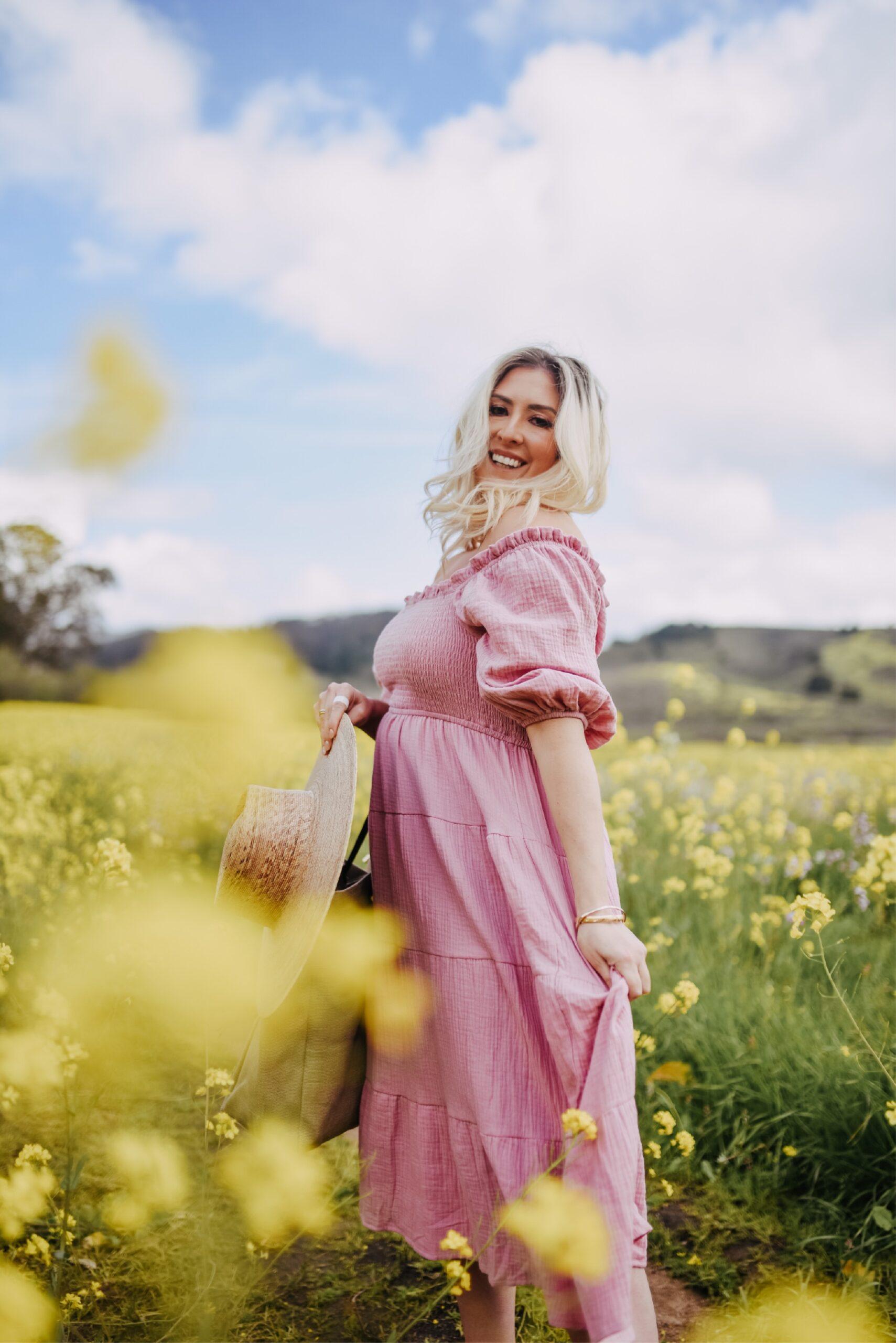 How to Find the Half Moon Bay Superbloom, Superbloom Directions, half moon bay mustard flower field, KatWalkSF wearing a nap dress