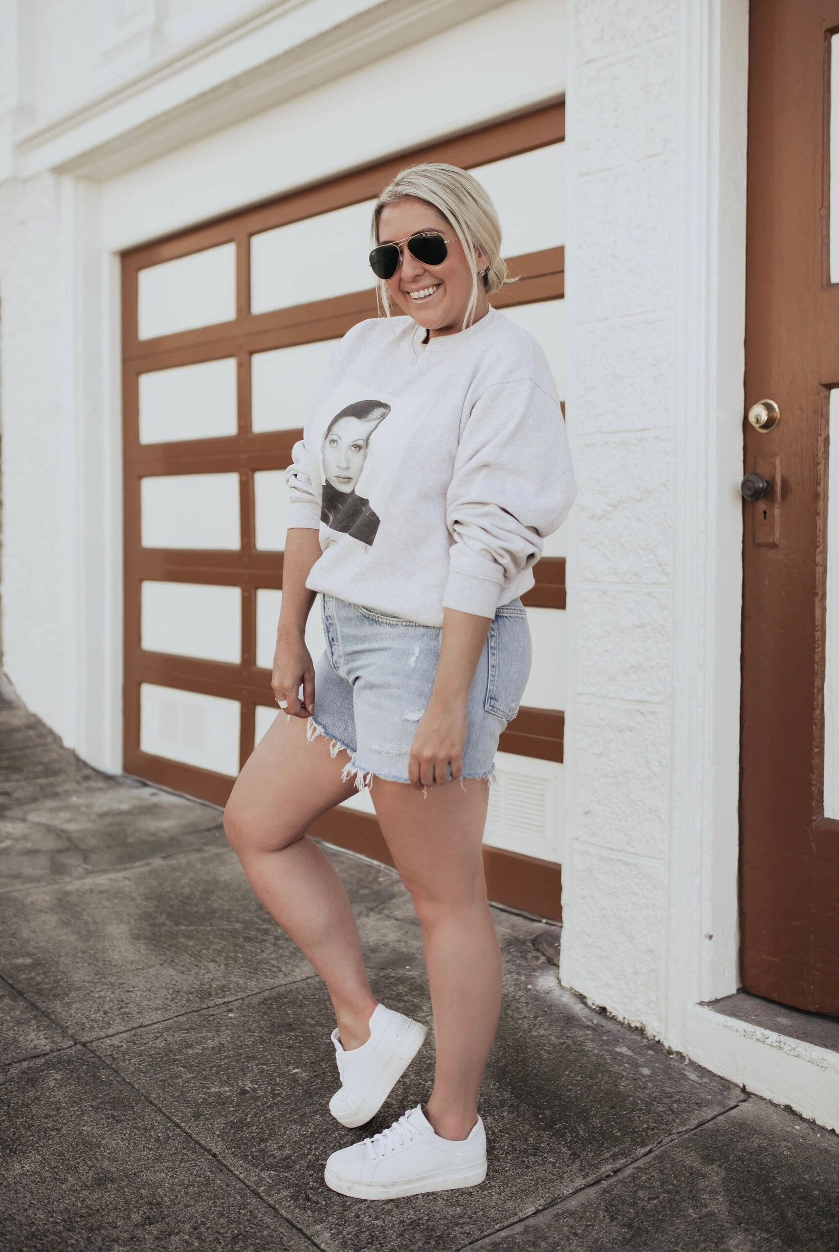 San Francisco fashion blogger KatWalkSF wears the new longer inseam AGOLDE parker shorts and the M. Gemi Palestra Alta Platform Sneakers.